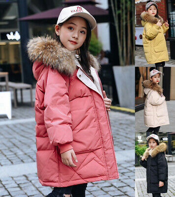 Winter Kids Girls Fur Hooded Long Down Jackets Hoody Outwears Hoodies Coat Parka