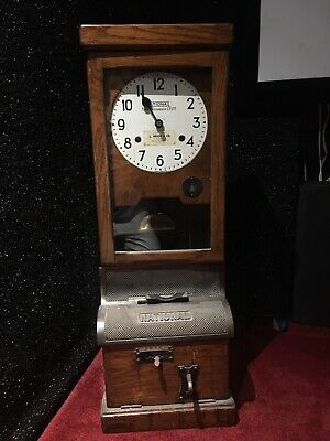 Antique NATIONAL TIME RECORDING Co. Oak Cased Clocking In Machine/Clock
