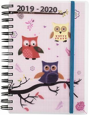 2019-2020 Diary 1 Day to Page A5 Spiral Mid Year Student/Teacher Diary Owl NEW