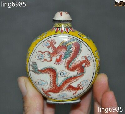 Marked old China Qianlong dynasty bronze Cloisonne Dragon animal Snuff bottle