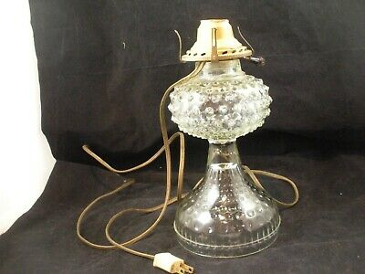 Antique Victorian Clear Hobnail Oil Lamp converted to electric