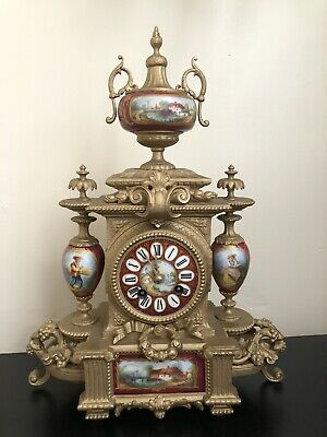 Antique 8 Day Clock - Porcelain Panelled Mantel France Clock - 19th C Clock