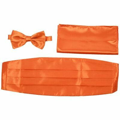 Satin Tuxedo Cummerbund+Bow Tie +Hanky Set Prom Wedding orange M3B2 S1E