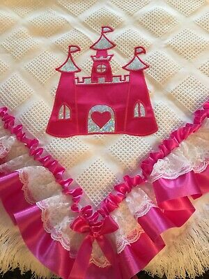 Romany White Shawl Decorated With a Cerise Pink Princess Castle