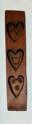 Antique Primitive Large Hand Carved Wood Heart Shape Cookie / Bread Mold Pattern