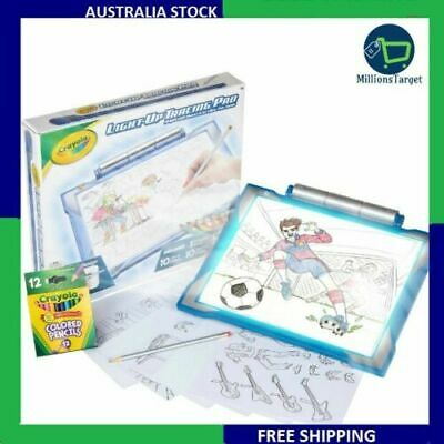 Crayola Light-Up Tracing Pad Drawing Board RETRACABLE IMAGES Gift Ideas Blue NEW