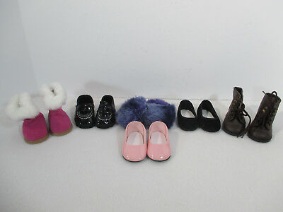 American Girl Doll Shoes Fuzzy Slippers Boots Pink Sparkles Black 6 Pairs