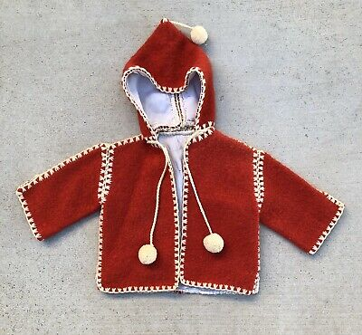 Vintage 40s 50s Kids Wool Red Coat Jacket children youth baby