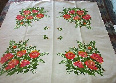 "Vintage Pink & Yellow Roses Flowered Tablecloth - 48"" x 52"""