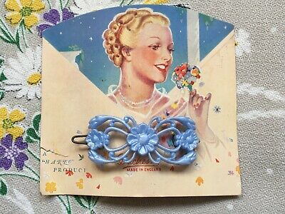 Vintage 50's cute ornate plastic hair clip, slide with flowers - blue, old stock