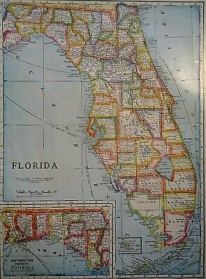 Vintage 1929 FLORIDA MAP Old Original & Authentic Atlas Map ~ Quick N Free