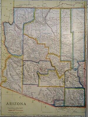 Vintage 1929 ARIZONA MAP Old Original & Authentic Atlas Map ~ Quick N Free