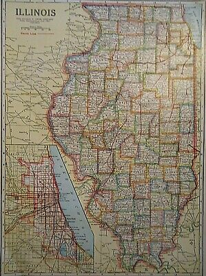 Vintage 1929 ILLINOIS MAP Old Original & Authentic Atlas Map ~ Quick N Free
