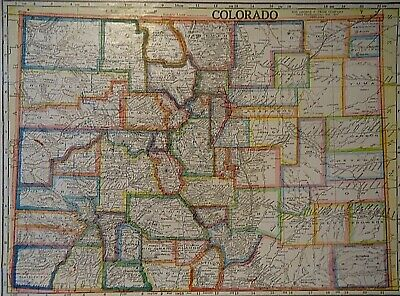 Vintage 1929 COLORADO MAP Old Original & Authentic Atlas Map ~ Quick N Free