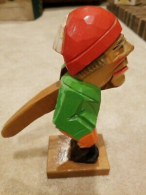 Vintage Scandinavian Hand Carved Folk Art Wooden Gnome Nutcracker 9 inch