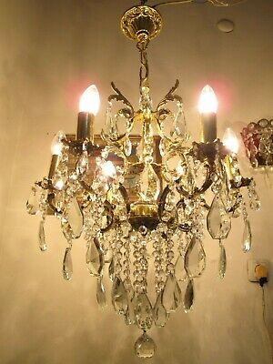 Antique Vnt French 5 arms Brass & Crystal Chandelier Lamp 1960's 19in Ø dmtr