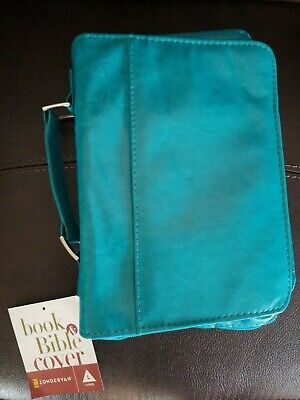 ZONDERVAN Book & Bible Cover size Large teal color imitation leather Brand New