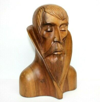 """Awesome 13"""" Mid Century Modern Sculpture Pensive Scholar Hand Carved Bust Man"""
