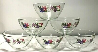 6 Avon Hand Painted Purple Violet Flower Clear Cereal Soup Bowls Arcoroc France