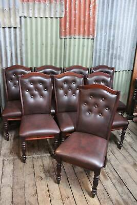 A Set of 8 High Back Chesterfield Dining Chairs - Buttoned Back