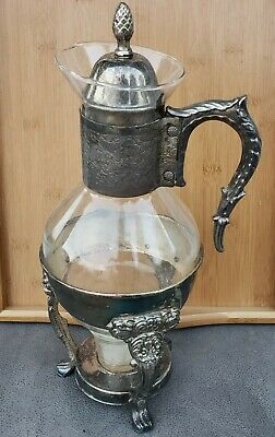 "Eales 1779 Coffee Carafe Warmer 9"" Glass Vintage Silver Plate With Candle warmer"