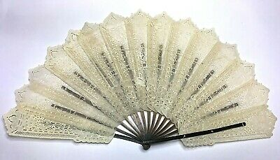 Antique VICTORIAN Buffalo Horn Vellum LARGE SIZE Ladies HAND FAN -RARE- VGC