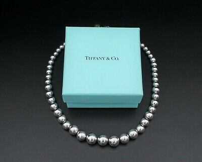 """Tiffany & Co. Sterling Silver Graduated Ball Bead Necklace 16"""" 11mm Box NS1370"""