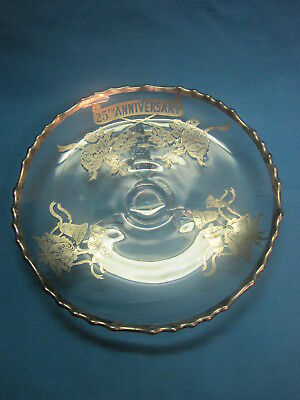 Vintage Silver Overlay Glass Footed Plate.