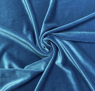 """Turquoise  2way stretch velvet fabric 60"""" Width Sold By The Yard"""