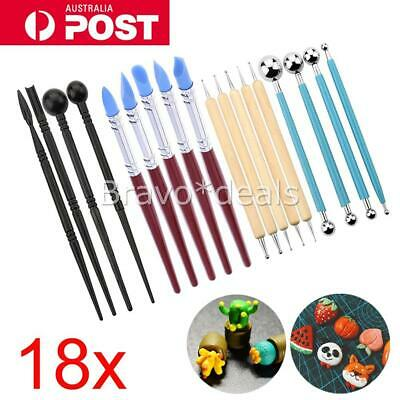18pcs Clay Sculpting Carving Pottery Tools Kit Polymer Modeling DIY Sculpture AU