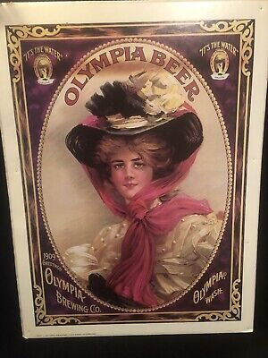 Vtg Olympia Brewing Co Victorian Era Woman Beer Advertising Poster Washington