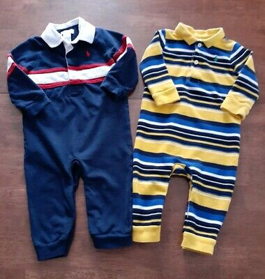 Polo Ralph Lauren Baby Boys Long Sleeve 1 PC Coveralls 9 Months Navy Blue Yellow