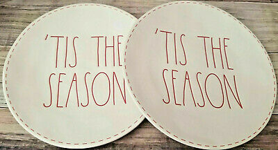 """Rae Dunn Christmas Red Stitch """"TIS THE SEASON"""" Plates, 11in, Set of 2, **NEW**"""