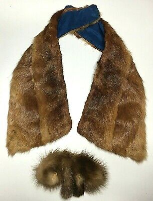 Vintage Ladies real FUR COLLAR Bow Fox Mink LOT c1950's GOOD-VGC