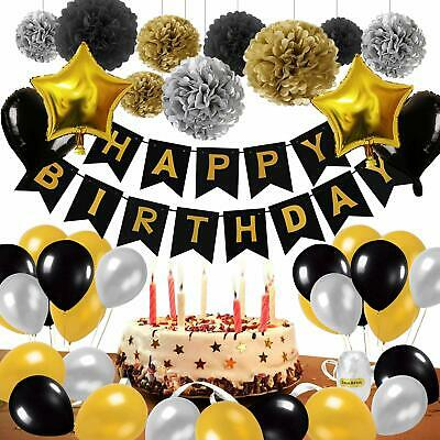 53pcs Black&Gold Birthday Party Decorations Happy Banner Star Heart Balloon Set
