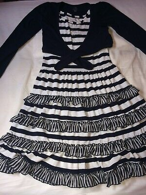 Girls Barbara Farber Navy And White Striped Dress With Matching Navy Cardigan 8Y