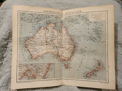 Australia & New Zealand Map - Antique Book Page - c.1885 - German Text