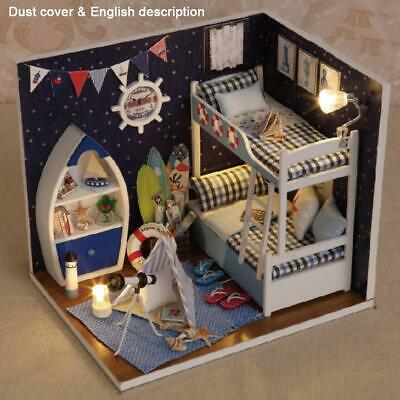 LED Light Doll House Wooden Dollhouse Miniature Assembling 3D Puzzle Toy DIY Kit