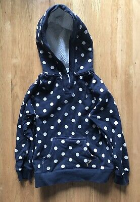 Girls Joules Spotted Hoodie Hooded Top Navy Borg Lined Hood Age 6