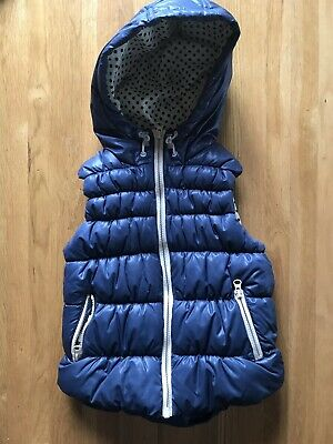 Girls Next Navy Padded Bodywarmer Gilet Spotted Lining Age 5-6