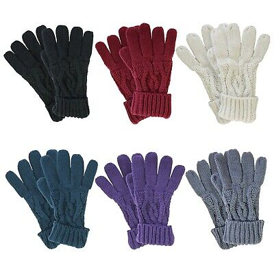 Ladies Heat Machine Thick Warm Winter Cable Knitted Soft Thermal Gloves