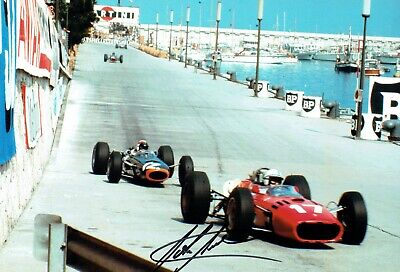 John SURTEES SIGNED FERRARI Formula 1 12x8 Photo AFTAL Autograph COA