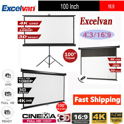 100inch 16:9 Projector Screen 1.2 Gain Wall Ceiling Manual Electric Motorized AU