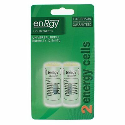 Short Green EnRrgy Energy CTS Gas Refill Cells For Braun Hair Stylers.2 Pack