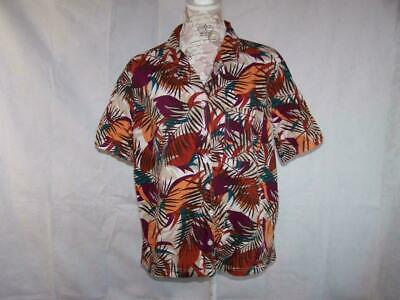 Gloria Vanderbilt Womens 1X Shirt Top Floral Front Buttons Short Sleeves