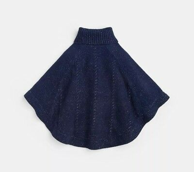 Joules Girls Amity Chenille Poncho In French Navy Silver - M