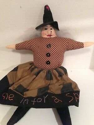 WITCH Doll~Halloween~Fall~Rustic~Grungy~Country~Autumn~Prim~Farmhouse Home Decor