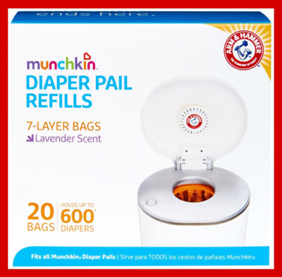 Munchkin Arm and Hammer Diaper Pail Bag Refills 20 Lavender Scented Bags NEW