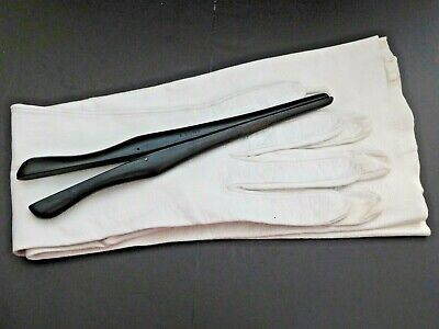 Vintage full length opera gloves Cream Kid leather buttoned at wrist + stretcher