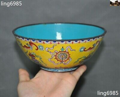 Old Chinese Dynasty Bronze Cloisonne Enamel Ancient dynasty eight treasures bowl